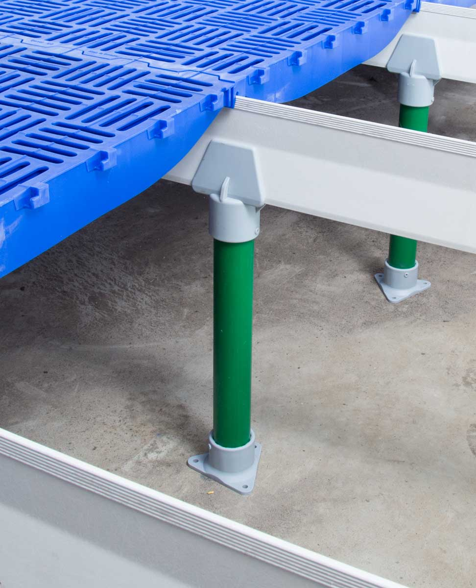 DUO support beam leg sets can be installed to provide intermediate support across the pit for longer beam installations.